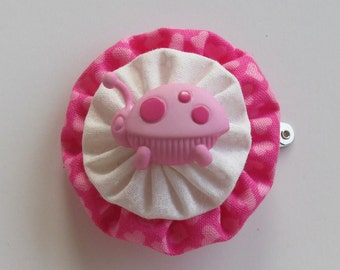 Cute Pink Bug Hair Clip, Pink Hearts Hair Accessory, YoYo Hair Clips, eclectiKIDS