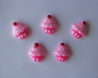 cupcake resins cabochons pink party resins 5 per packet