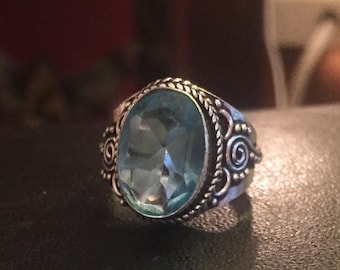 Topaz blue silver ring size q us 8