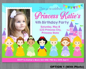 Disney Princess Photo Invitation, Princess Photo Invitation, Princess Birthday Invitation, Princess Invitation
