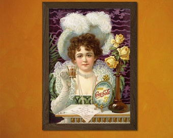 Coca Cola Print 1890 -  Kitchen Wall Decor Coca Cola Poster Kitchen Vintage Food Poster Food  t