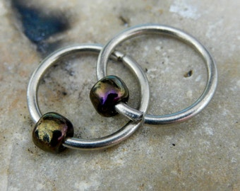 Men's Hoop Earring - Sterling Silver Large Earring for Men - Lobe/Cartilage/Tragus/Rim/Rook/Helix/Mens/Nose/Septum