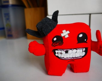 Super Meat Boy doll from the video game of same name, cute doll of video game character, gift for gamer, small toy for geek home decor