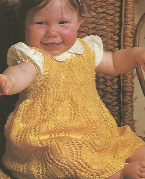 Knit Baby Dress Leaf Pattern Pinafore Vintage Pattern Knitting