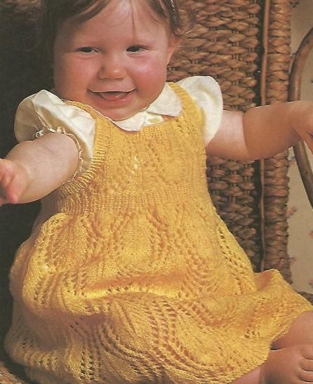 Knitting Pattern Pinafore Dress : Knit Baby Dress Leaf pattern Pinafore Vintage Pattern knitting