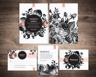Vintage floral wedding invitation suite - printable set of 4
