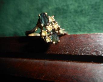Vintage Black and Clear Rhinestone Ring RG004