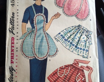 Simplicity 4479; ©1953; Misses' And Women's One-Yard Half Apron and Full Apron; Unused