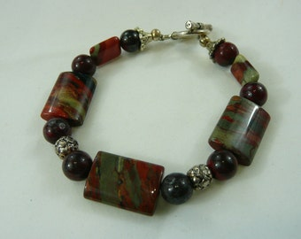 Beautiful Jasper Quartz & Pewter Bracelet  Handcrafted American Artisan Bracelet with Pewter Clasp