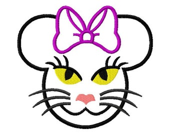 Character Black Cat with Bow Embroidery Applique Design