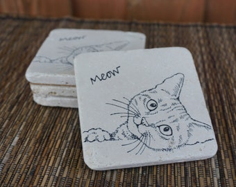 Pretty Kitty Tumbled Marble Coasters