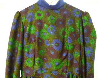 1960s Vintage Dress Maxi Boho Hippie 1970s Long Sleeve Elegant Mod Party Costume Theme Theater