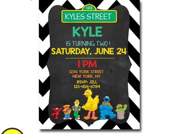 SESAME STREET Birthday Invitation Boy, Sesame Street Birthday Invitation Girl, Sesame Street First Birthday Invitation, Boy first Birthday