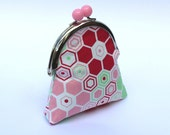 Sweet coin purse, metal frame with pink bobble, pink and mint hexagon fabric and coordinating fabric lining