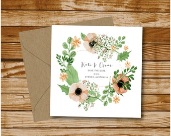 Save The Date- Floral Including Envelopes