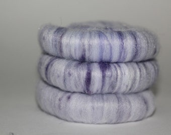 Wool Fiber Spinning Batt - Purple Passion Puni
