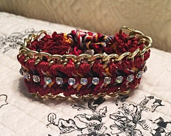 Gold Chain and Rhinestone Embellished Friendship Bracelet