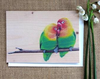 Love Birds - Handmade Illustrated Card - Animal, Girlfriend, Boyfriend, Husband, Wife, Valentines, Annivesary, Engagement, Wedding Card