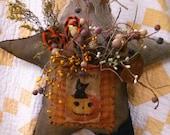 Primitive Halloween Fall Door hanger Rustic Star Cat Pumpkin Faap Hafair