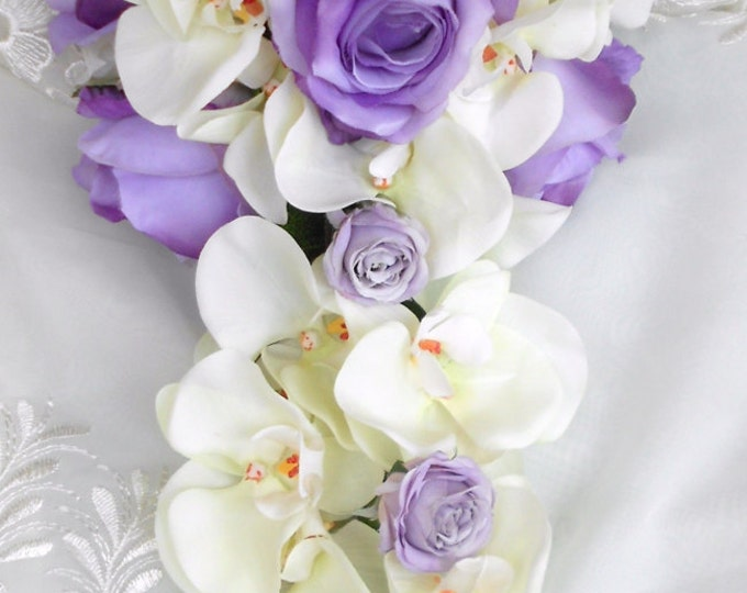 Cascade Silk Orchids and roses  wedding bouquet lavender and ivory 2 pc