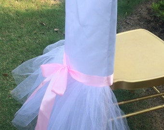 Lavish Tutu Tulle Chair Cover Hood Jacket with Satin Sash