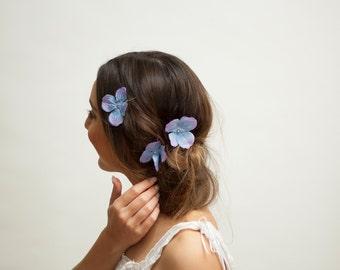 3 Piece Hair Clip Set - Blue and Purple Hydrangea Flowers | Spring Summer Festival Bridal Wedding Party Fairy Boho Flowergirl Bridesmaid