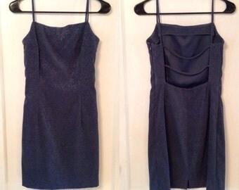 Sparkly Velvet Open Back Dress
