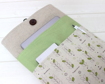 Green Laptop Sleeve, Gift under 40, Macbook Pro Case, Beige Laptop, Macbook Pro 15, Retina Sleeve, Fabric Laptop Case, Linen Laptop Sleeve