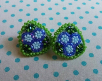 Little Blueberry beaded stud earrings by create beautiful beads. Perfect Summer fun accessory.