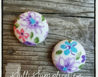 Lilac floral fabric button earrings