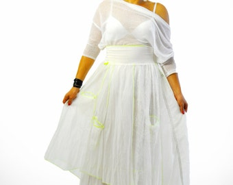 Long Extravagant skirt/White summer Original Parachute fabric /Woman skirt/Asymmetrical white skirt with pockets/Casual woman skirt/S1393