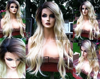 Blonde Lace Front Wig //  Long Heat OK Wavy Platinum Blonde // Skin Top Part Wig w/ Ombre Dark Root