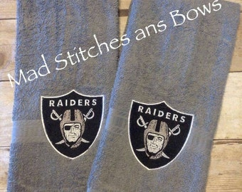 Custom embroidered Raiders hand towels set of 2