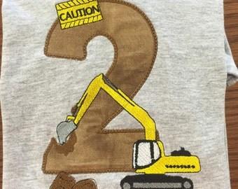 Construction Embroidery Birthday shirt / Construction Birthday/ Birthday Shirts/ Applique Embroidery shirt