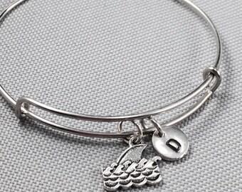 Shark fin bangle bracelet, shark fin charm, shark bangle, shark charm bracelet, ocean bangle, ocean bangle, personalize bangle, initial