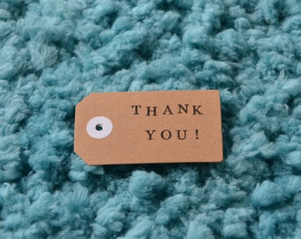 Handmade stamped 'Thank You' gift tag pack of 5/ gift tags/handstamped gift tags/thank you tags