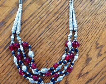 Red, Black and Silver beaded Necklace with Pendant