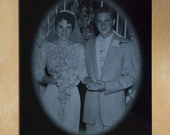 Custom Anniversary Plaque ~ Wedding Photo Engraved on Marble ~ Laser Engraved Photo Plaque ~ Forever Photo