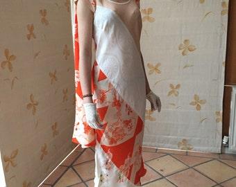 Vintage kimono silk dress and matching shawl