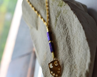 Long Pendant Violet Hematite stone cube with cutie owl on 18K Gold filled Necklace/Hematite Necklace/Cube Necklace/Stone Bar Necklace