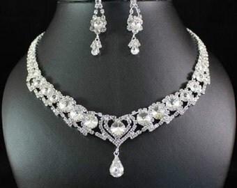 Beautiful Clear Austrian Rhinestone Wedding Jewelry Set