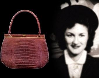 On Sale Now! Estate Find! 1940s Bellestone Lizard Skin Danish Brown Leather Designer Handbag Purse