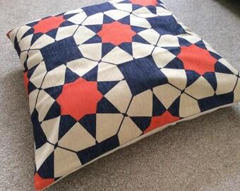 "Red/Blue Morrocan/Tribal Geometric Scandinavian Cotton Linen Floor Cushion/Pillow Cover 26 x 26"""