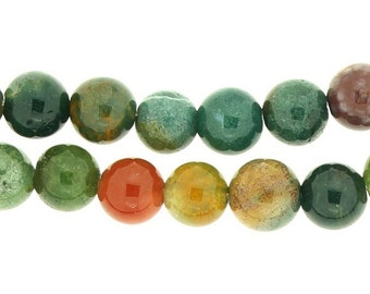 64 beads wire round 6mm 6 mm Indian agate Green