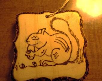 Wooden Squirrel Ornamnet