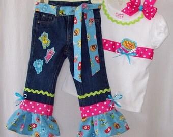 Custom boutique Yo Gabba Gabba jeans & ribbon shirt set sizes 12 mo. to size 6.
