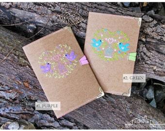 Handmade washable kraft paper fabric passport cover with cross stitched birds / Passport holder / Travel wallet / passport case