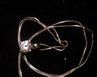 925 sterling sliver necklace with cz pendant