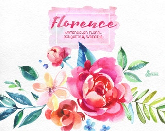 Florence. Watercolor Bouquets and Wreaths, hand painted clipart, peonies, floral wedding invite, pink, greeting card, diy clip art, flowers