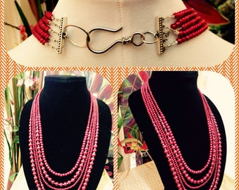 5-Strand Red Glass Pearls Beaded Necklace